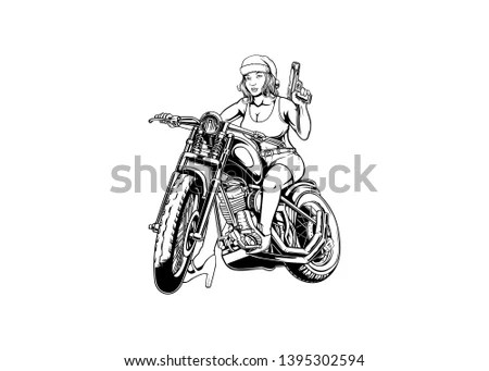 Sketch of touring motorbike in city,… Stock Photo