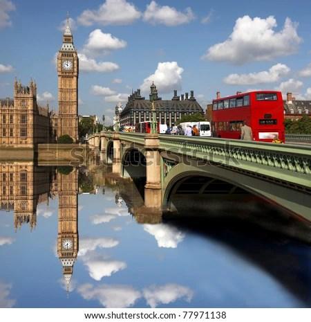 stock photo : Big Ben with bridge, London, UK