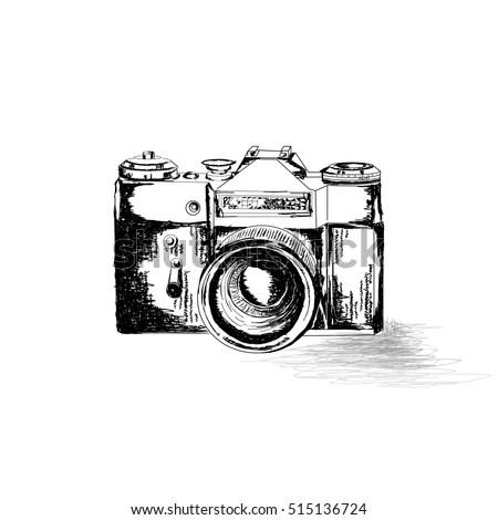 Retro photo camera. Hand drawing… Stock Photo 366196535