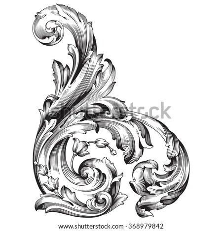 Royalty-free Vintage baroque frame scroll ornament