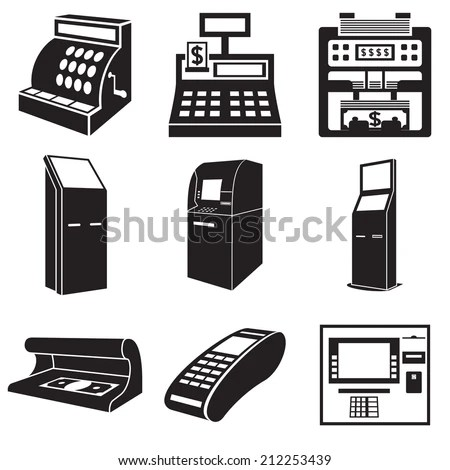Icons Of Devices For Money: Cash Register, Bill Counter