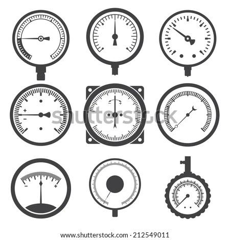 Manometer (Pressure Gauge) And Vacuum Gauge Icons. Vector