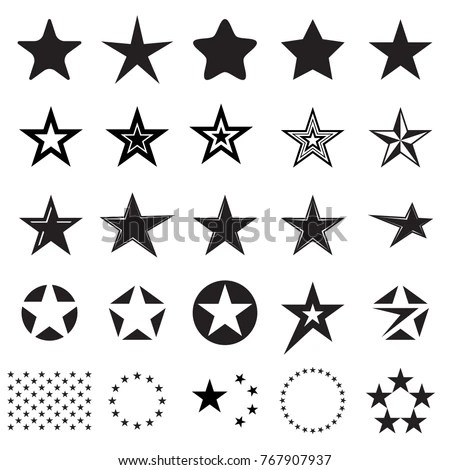 Pentagonal five point star collection… Stock Photo