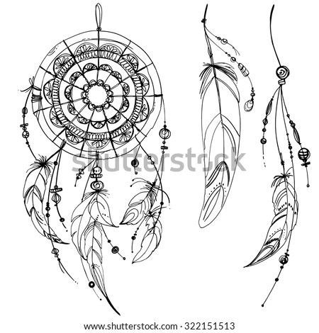 Set Of Ornaments, Feathers And Beads. Native American