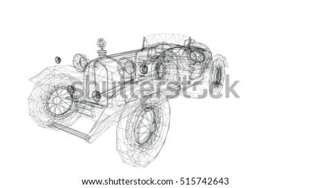 Royalty-free V8 Car engine cartoon illustration