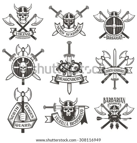 Viking Logo Set. Skull In Horned Helmet, With Beard