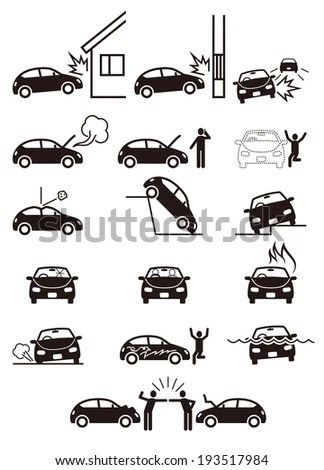 Royalty-free Car problem story icon set illustration