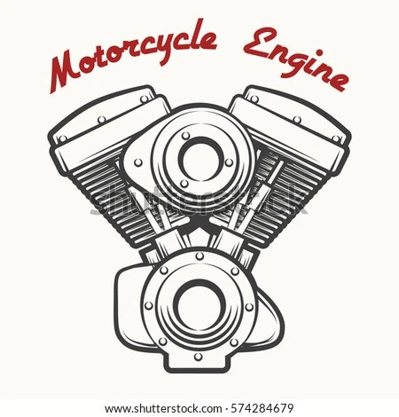 Motorcycle engine v twin vector flat… Stock Photo