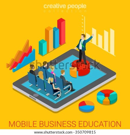 Mobile Business Education Online Course Flat 3d Isometry Isometric Concept Web Vector