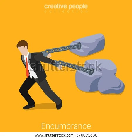 Life Encumbrance Tie Drag Concept. Flat 3d Isometry Isometric Business Lifestyle Concept Web Vector Illustration. Businessman Chained To Rocks ...