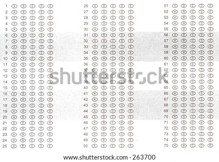A Typical Multiple Choice Answer Sheet. Stock Photo 263700