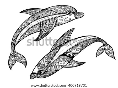 Zentangle vector sea Dolphin Ornamental… Stock Photo
