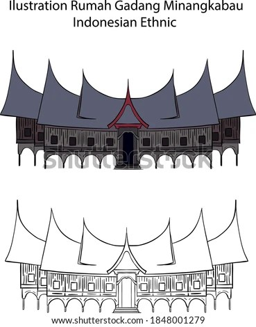 Rumah Gadang Vector Png : rumah, gadang, vector, Vektor, Rumah, Minang, Sekali
