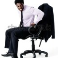Office chair with bad posture long working hours concept isolated on