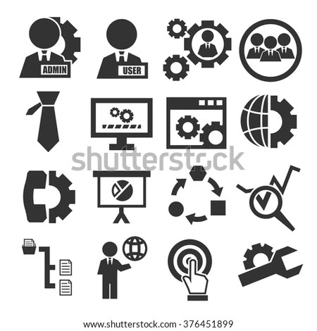 System, User, Administrator Icon Set Stock Vector
