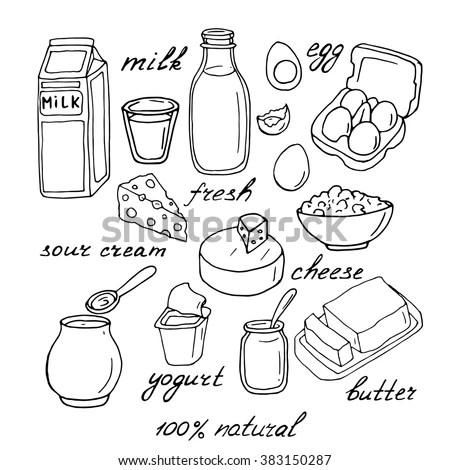 Royalty-free Vector dairy products: milk, cheese