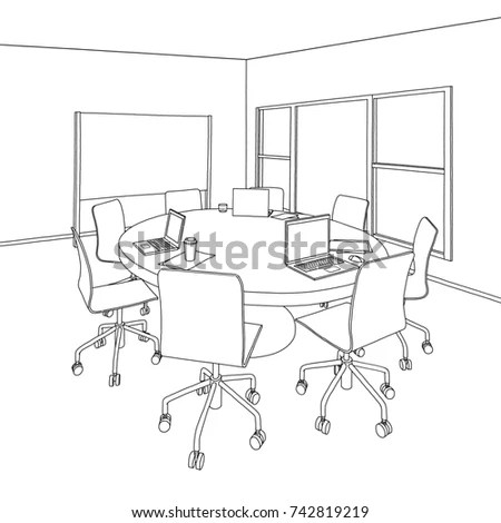 Meeting Conference Table Vector 02 Stock Photo 92914483