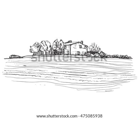 Landscape of farmer plowing field at… Stock Photo