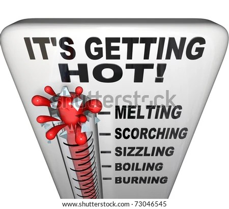 A thermometer with words It's Getting Hot at the top, with the mercury exploding through the glass and the descriptive terms melting, scorching, sizzling, boiling, burning - stock photo