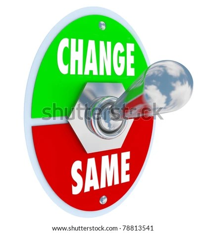 stock photo : A metal toggle switch with plate reading Change and Same, flipped into the Same position, illustrating the decision to work toward changing or improving your situation in life