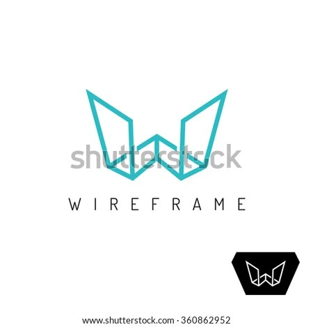 Letter W wireframe linear 3D… Stock Photo 347637005