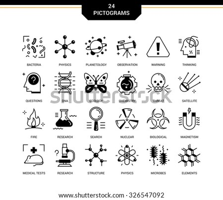 Creative Contemporary Icon Set In A Linear Style