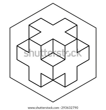 3D cross Free Vector / 4Vector
