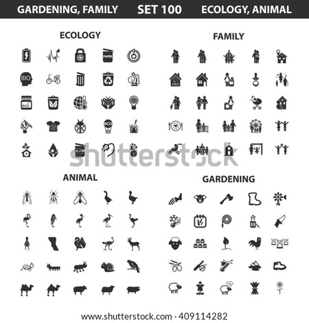 Ecology, Family Set 100 Black Simple Icons. Gardening