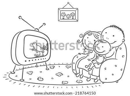 Royalty-free Happy family watching TV together #216044407