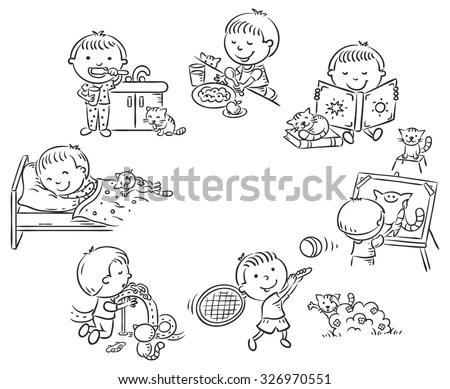 Family set of black sketch. Part 3-10.… Stock Photo