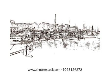 Royalty-free Sailing yachts and boat illustration