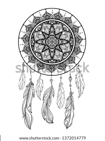 Dream catcher with feathers and leafs,… Stock Photo