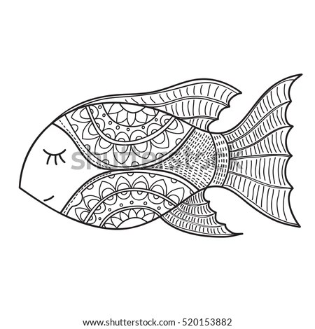 Decorative Fish Drawing With Abstract Ornaments. Hand