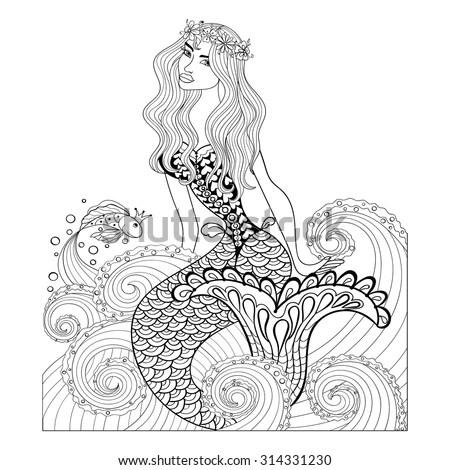 Royalty-free Mermaid with beautiful hair, flowers