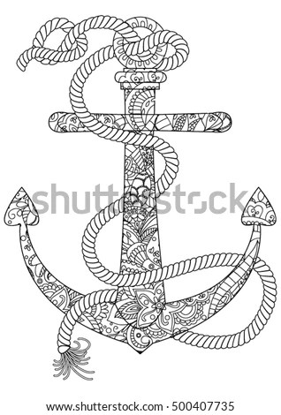 Anchor coloring book for adults vector… Stock Photo