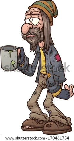 Cartoon beggar. Vector clip art illustration with simple gradients. All in a single layer. - stock vector