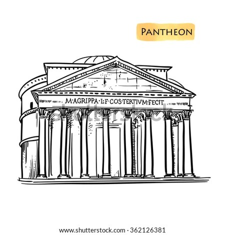 Rome Famous Building Hand Drawn Vector Illustration
