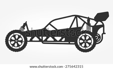 Rc Car Buggy Toy Isolated Silhouette, Vector Illustration