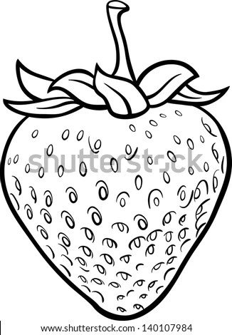 Black And White Cartoon Vector Illustration Of Strawberry
