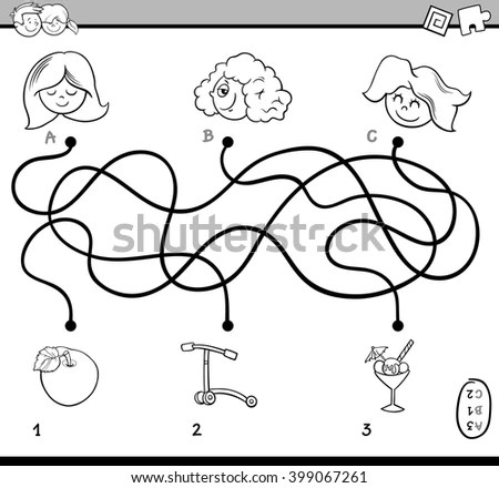 Black And White Cartoon Illustration Of Educational Paths