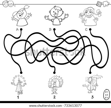 Black and White Cartoon Vector Illustration of Paths or