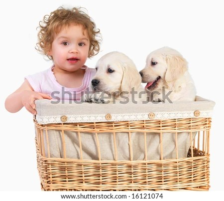 stock photo : Cute baby girl and two puppies in a basket. Imagine having to