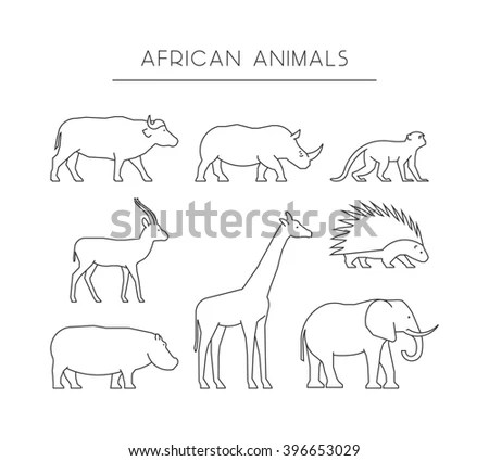 Royalty-free Outline figures of African animals