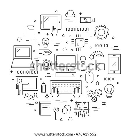 Line web concept for computer science.… Stock Photo