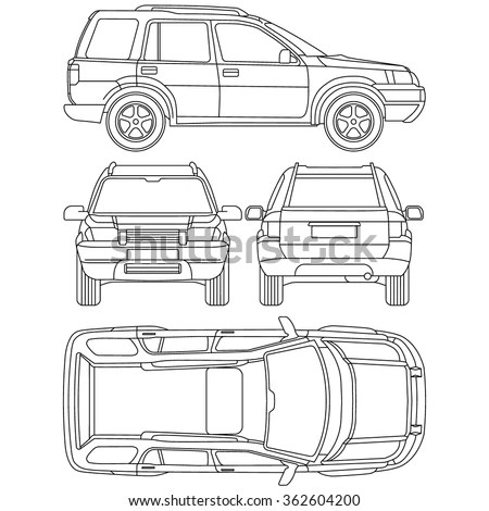 Car Offroad Line Draw Insurance, Rent Damage, Condition