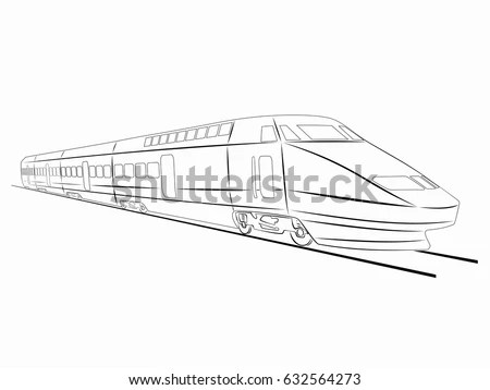 Train outline and silhouette vector Stock Photo 143417821