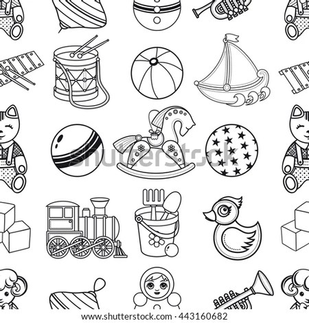 Toy Kid'S. Seamless Pattern. Baby Background. Toddler Toys