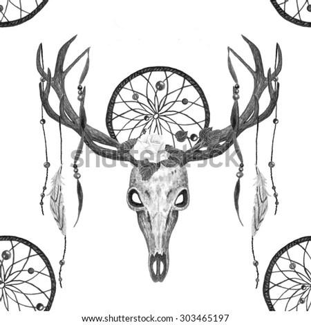 Watercolor Deer Skull, Dreamcatcher, Feather, Rose, Ribbon