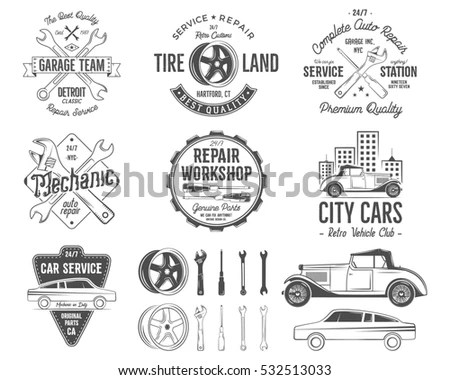 House remodeling logos. Vector labels… Stock Photo
