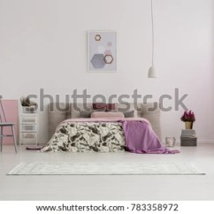 Bedroom Chair With Blanket Swing Egg Indoor Spacious Pink On The Bed Gray And White Lamp